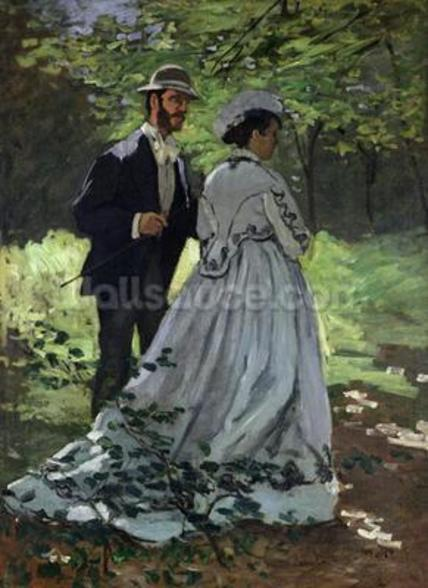 The Promenaders, or Bazille and Camille, 1865 (oil on canvas) wallpaper mural