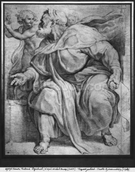 The Prophet Ezekiel, after Michangelo Buonarroti (pierre noire & red chalk on paper) mural wallpaper