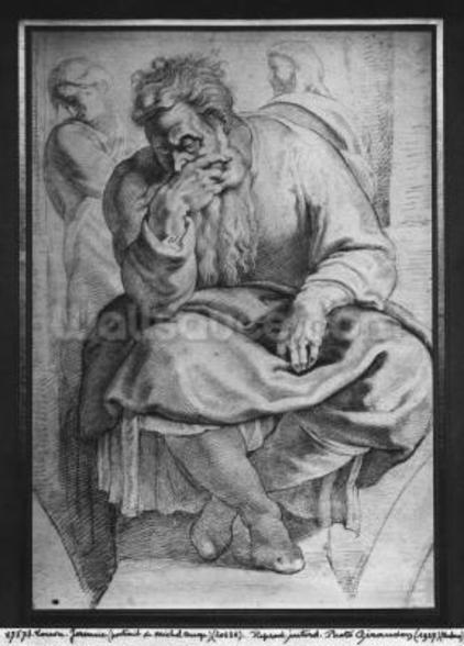 The Prophet Jeremiah, after Michangelo Buonarroti (pierre noire & red chalk on paper) wallpaper mural