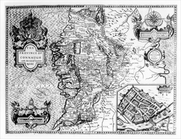 The Province of Connaught with the City of Galway Described, engraved by Jodocus Hondius (1563-1612), from Theatre of the Empire of Great Britain, pub. by John Sudbury and George Humble, 1611-12 (engraving) (b&w photo) wallpaper mural