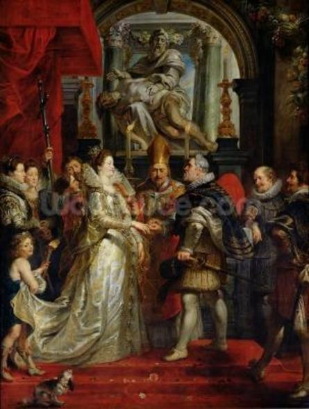 The Proxy Marriage of Marie de Medici (1573-1642) and Henri IV (1573-1642) 5th October 1600, 1621-25 (oil on canvas) mural wallpaper