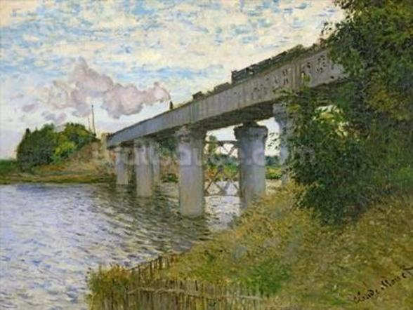 The Railway Bridge at Argenteuil, 1874 (oil on canvas) mural wallpaper