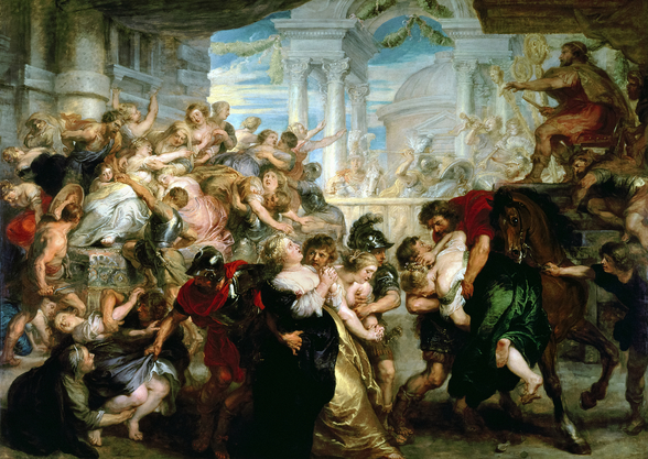 The Rape of the Sabine Women, c.1635-40 (oil on panel) mural wallpaper