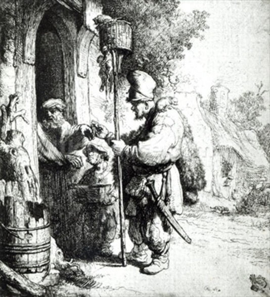 The Ratcatcher, 1632 (etching) (b/w photo) wallpaper mural