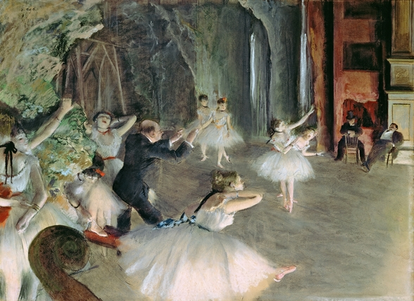 The Rehearsal of the Ballet on Stage, c.1878-79 (pastel on paper) wall mural