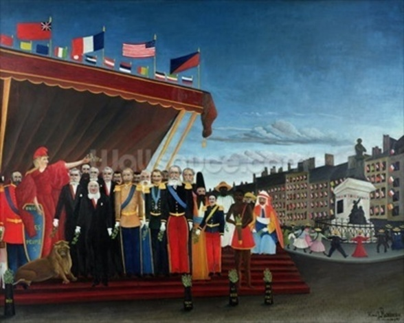 The Representatives of Foreign Powers Coming to Salute the Republic as a Sign of Peace, 1907 (oil on canvas) mural wallpaper