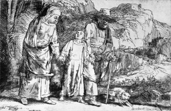 The Return from Egypt, or Jesus Christ Taken Back from the Temple, 1649 (etching) (b/w photo) wall mural
