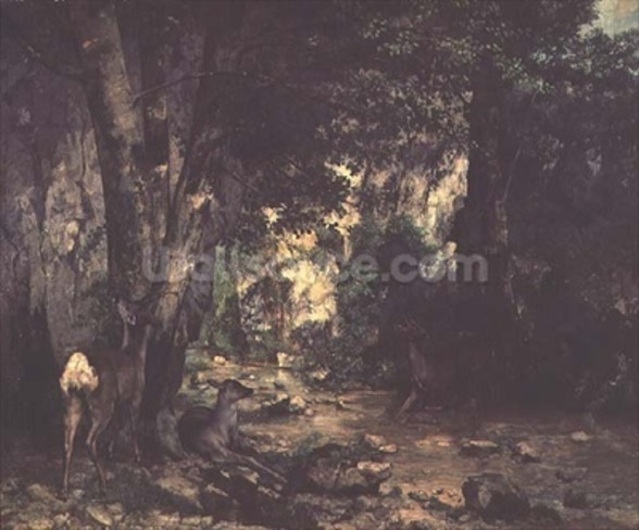 The Return of the Deer to the Stream at Plaisir-Fontaine, 1866 (oil on canvas) mural wallpaper