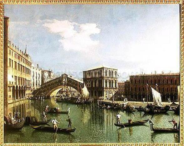 The Rialto Bridge, Venice (oil on canvas) wall mural