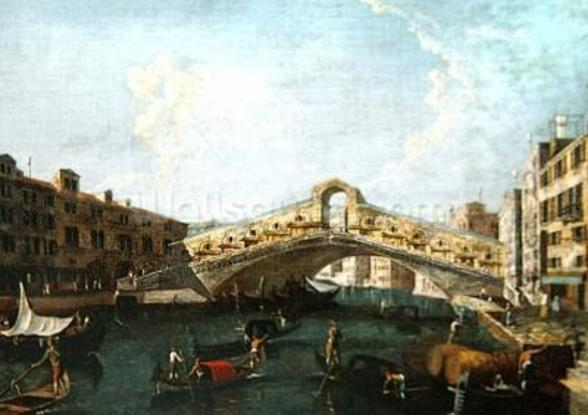 The Rialto in Venice (oil on canvas) wall mural