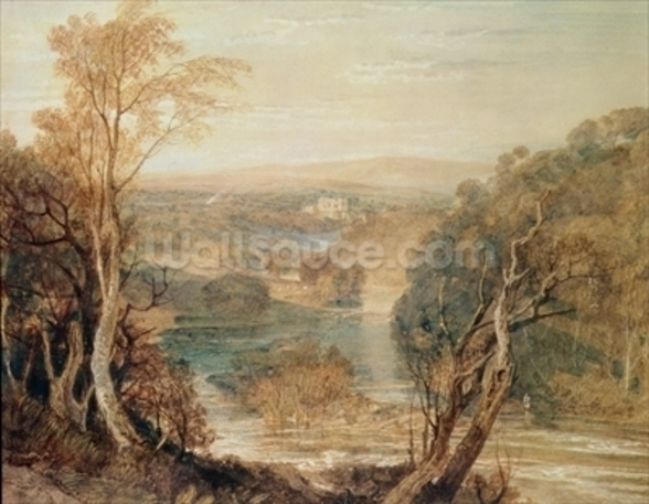 The River Wharfe with a distant view of Barden Tower wall mural