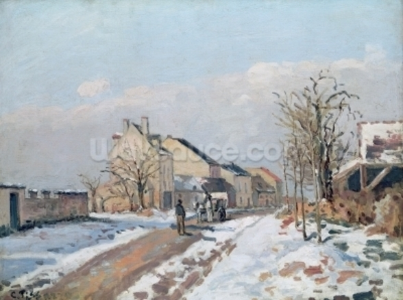 The Road from Gisors to Pontoise, Snow Effect, 1872 (oil on canvas) wall mural