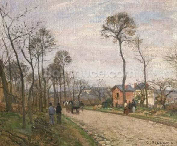 The Road from Louveciennes, 1870 (oil on canvas) mural wallpaper