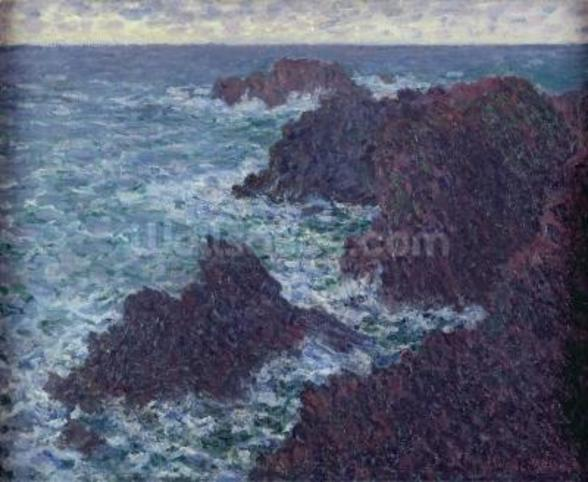The Rocks at Belle-Ile, the Wild Coast, 1886 (oil on canvas) wall mural