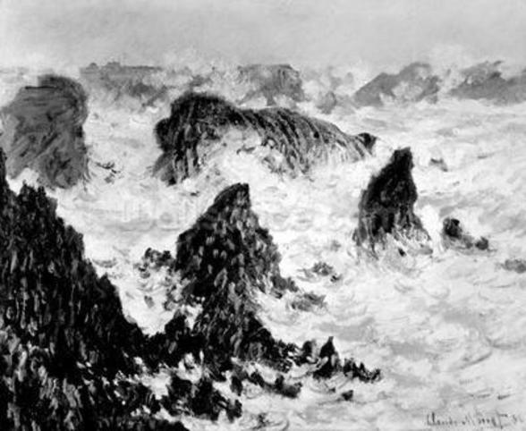 The Rocks of Belle-Ile, 1886 (oil on canvas) (b/w photo) wallpaper mural