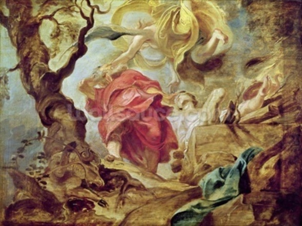 The Sacrifice of Isaac, sketch for section of ceiling in the Jesuit Church, Antwerp, 1620-21 (oil on panel) wall mural