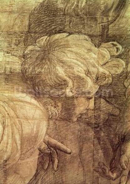 The School of Athens, detail of the cartoon depicting a young mans head, c.1510 (charcoal & white lead on paper) wall mural