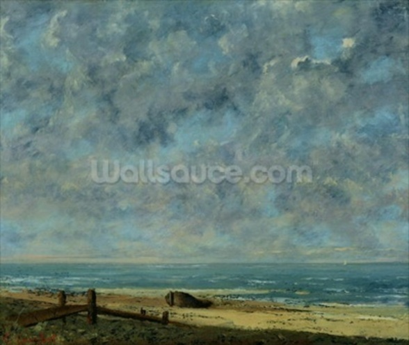 The Sea, c.1872 (oil on canvas) mural wallpaper