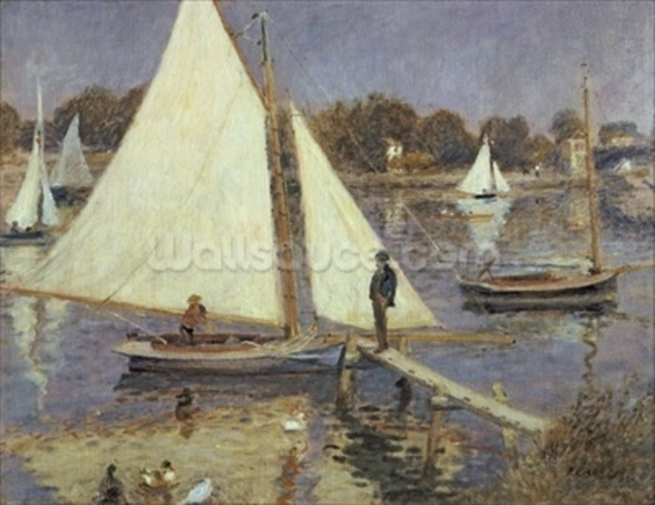 The Seine at Argenteuil, 1874 (oil on canvas) mural wallpaper