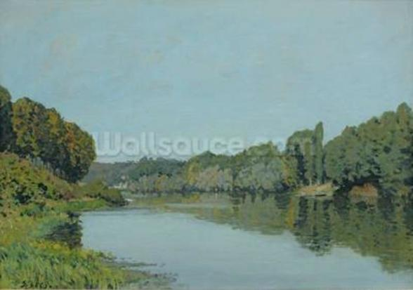 The Seine at Bougival, 1873 (oil on canvas) wallpaper mural