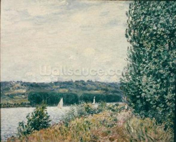 The Seine at Bouille, a Gust of Wind, 1894 (oil on canvas) mural wallpaper
