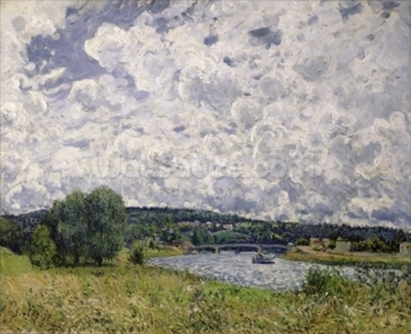 The Seine at Suresnes, 1877 (oil on canvas) wallpaper mural