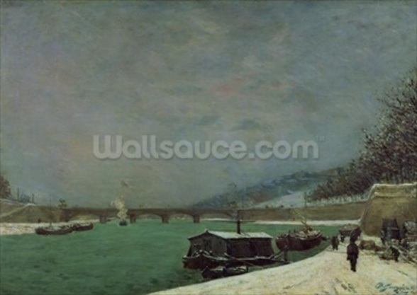 The Seine at the Pont dIena, Winter, 1875 (oil on canvas) wallpaper mural