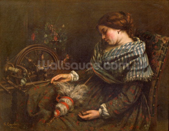 The Sleeping Embroiderer, 1853 (oil on canvas) mural wallpaper