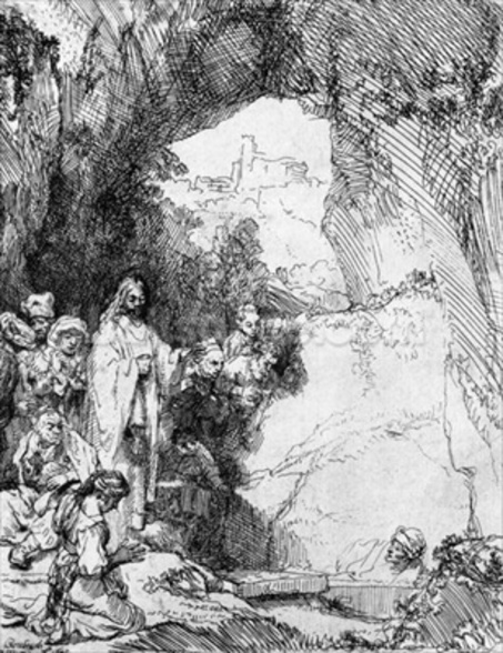 The Small Raising of Lazarus, 1644 (etching) (b/w photo) mural wallpaper