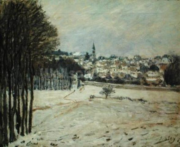 The Snow at Marly-le-Roi, 1875 (oil on canvas) wall mural
