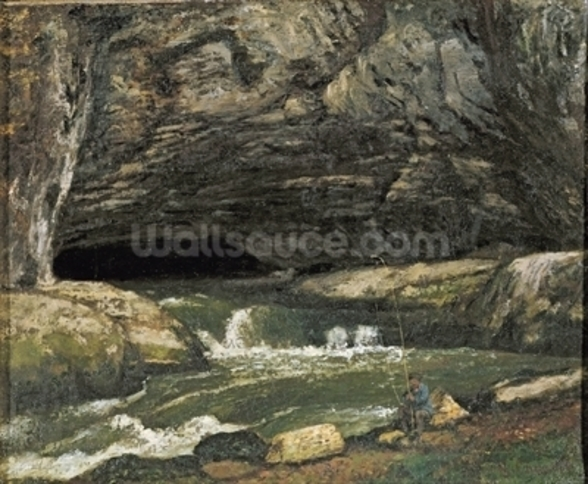 The Source of the Loue or La Grotte Sarrazine (oil on canvas) wallpaper mural