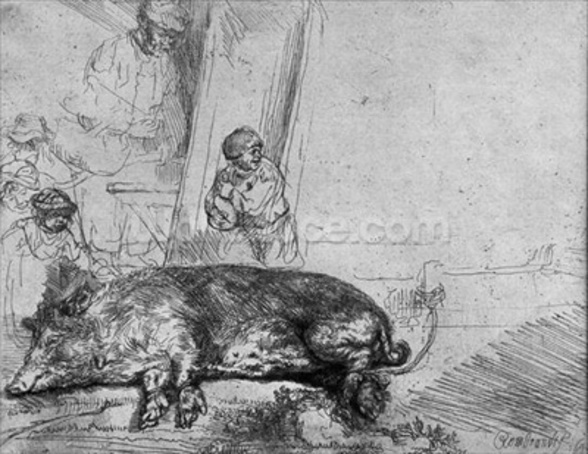 The Sow, 1643 (etching) (b/w photo) wallpaper mural