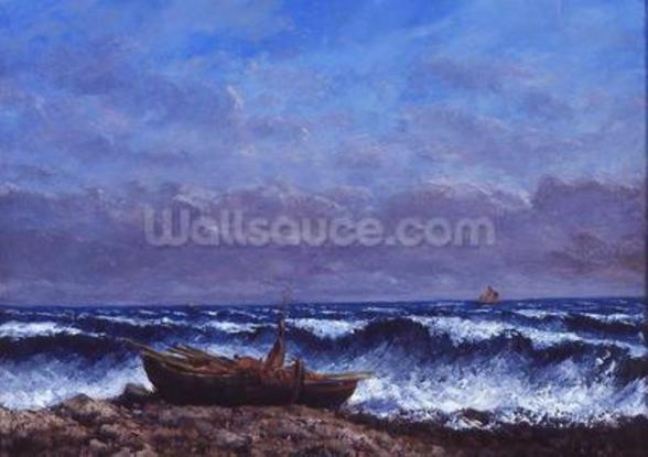 The Stormy Sea or, The Wave (oil on canvas) mural wallpaper
