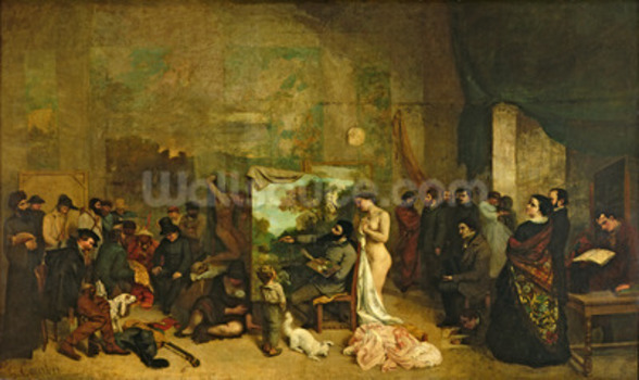The Studio of the Painter, a Real Allegory, 1855 (oil on canvas) wall mural