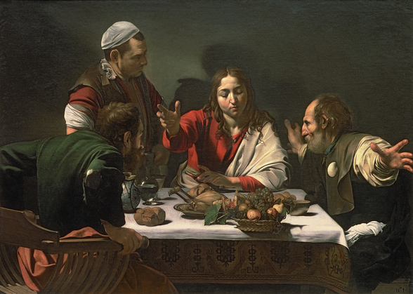 The Supper at Emmaus, 1601 (oil and tempera on canvas) wall mural