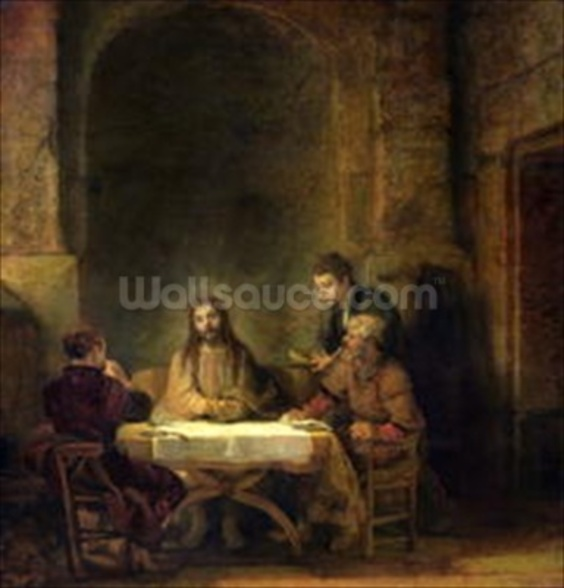 The Supper at Emmaus, 1648 (oil on panel) wallpaper mural