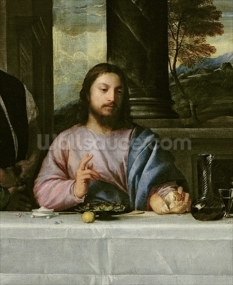 The Supper at Emmaus, c.1535 (oil on canvas) (detail of 34377) wall mural