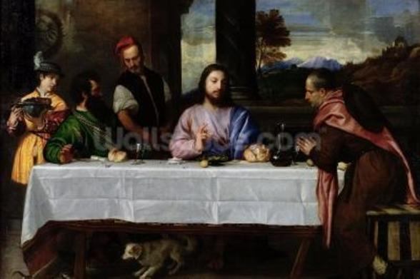 The Supper at Emmaus, c.1535 (oil on canvas) mural wallpaper