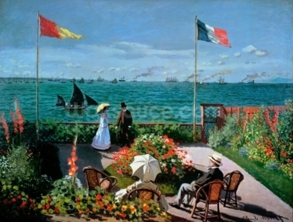 The Terrace at Sainte-Adresse, 1867 (oil on canvas) mural wallpaper