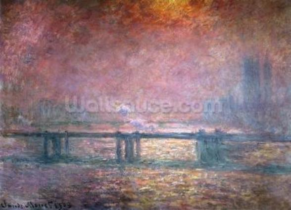 The Thames at Charing Cross, 1903 (oil on canvas) mural wallpaper