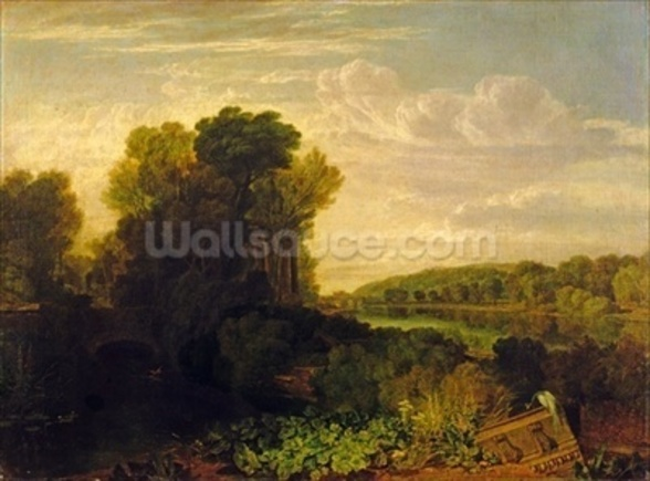 The Thames at Weybridge, c.1807-10 mural wallpaper