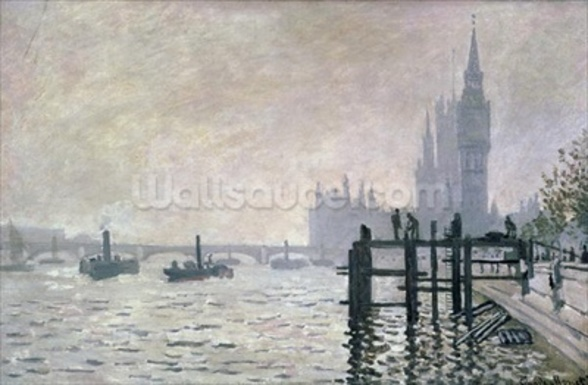 The Thames below Westminster, 1871 (oil on canvas) wallpaper mural