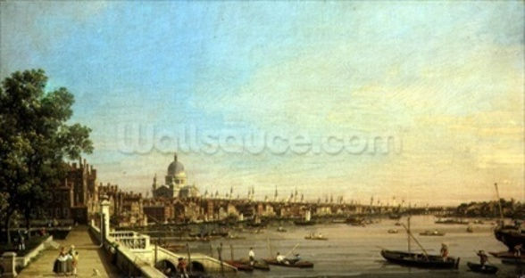 The Thames from the Terrace of Somerset House Looking Towards St. Pauls, c.1750 (oil on canvas) wall mural