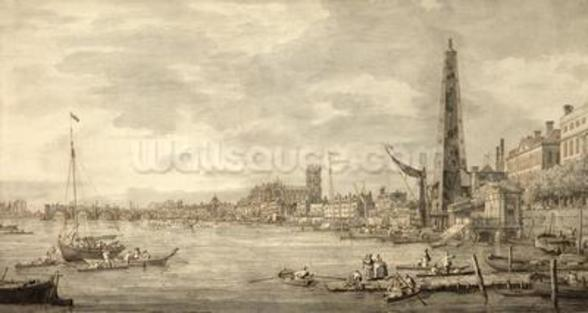 The Thames Looking towards Westminster from near York Water Gate (pen and brown ink with grey wash on paper) wall mural