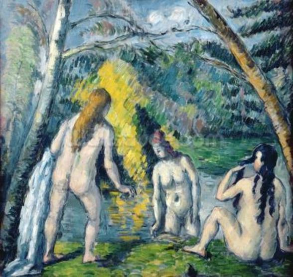 The Three Bathers, c.1879-82 (oil on canvas) mural wallpaper