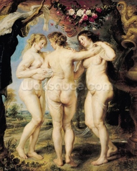 The Three Graces, c.1636-39 (oil on canvas) mural wallpaper