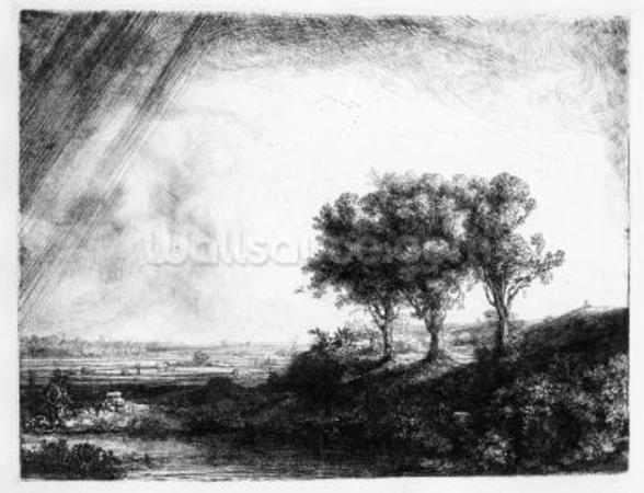 The Three Trees, engraved by James Bretherton (etching) wall mural