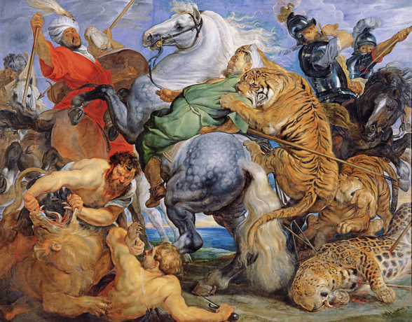 The Tiger Hunt, c.1616 (oil on canvas) wallpaper mural