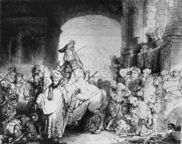 The Triumph of Mordecai, c.1640 (etching) (b/w photo) mural wallpaper