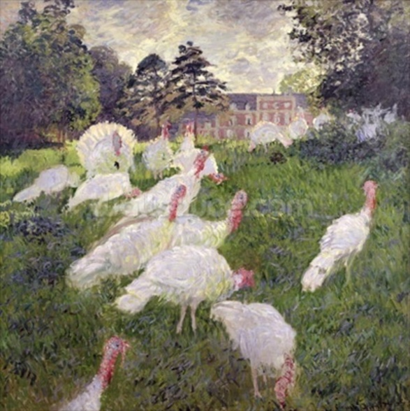 The Turkeys at the Chateau de Rottembourg, Montgeron, 1877 (oil on canvas wall mural
